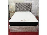 King size crush velvet divan bed with floor standing princess headboard