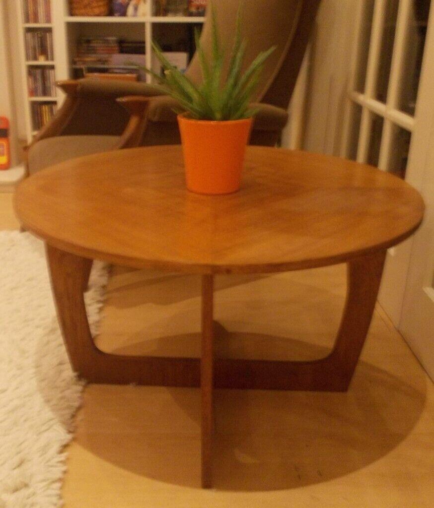 Vintage Teak Mid Century Danish Round Coffee Table Retro ...