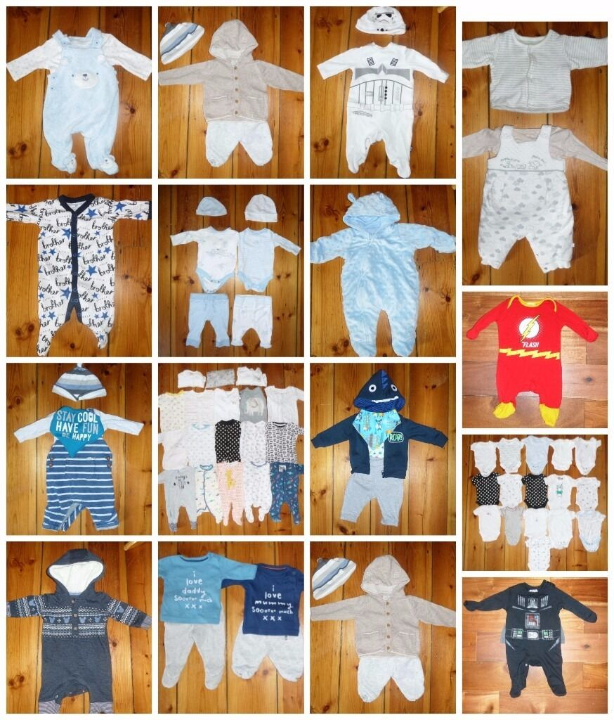 f0b79cbf6e2f7 Baby Boys Bundle Newborn 0-3 Months 100 Items Next, Mothercare, Disney, Star  Wars, George