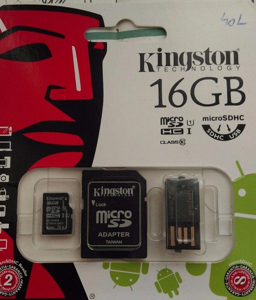 Kingston MicroSd 16G Class 10 + Reader