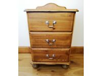 CHEST OF DRAWS UNIT Pine Wood Bedroom Furniture 3 Drawer Chest Chrome Handles Contemporary Curved