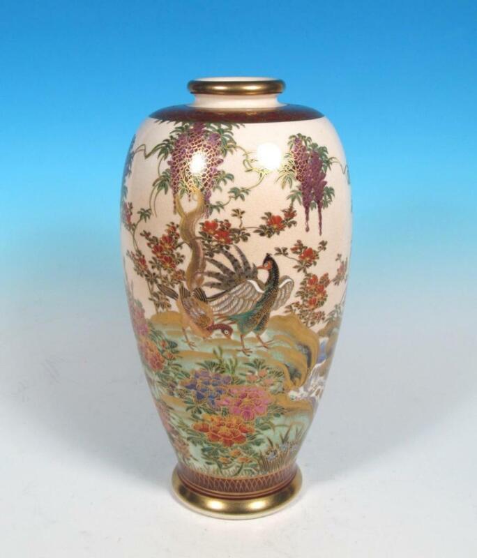 Japanese Vintage Satsuma Art Pottery Vase Shimazu Mark Fine Gold Taisho Style