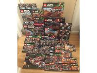 Large collection of brand new sealed discontinued Lego Star Wars sets, including a Lego Death Star