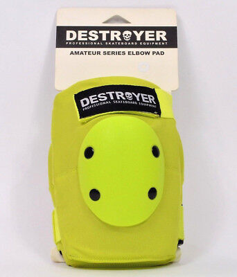 Destroyer AMATEUR SERIES ELBOW PADS Lime Green Large Skateboard Gear NEW