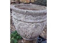 Vintage stone plant pot