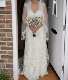 Size 14 Alfred Angelo Wedding Dress & Veil. Beautiful elegant dress with lots of detail.