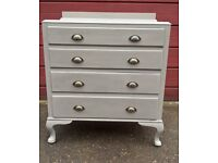 Vintage chest of drawers on cabriole feet hand painted Annie Sloan 'French Linen' aged waxed finish