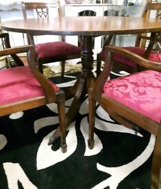 Vintage Round Dining Table & Four Carvers