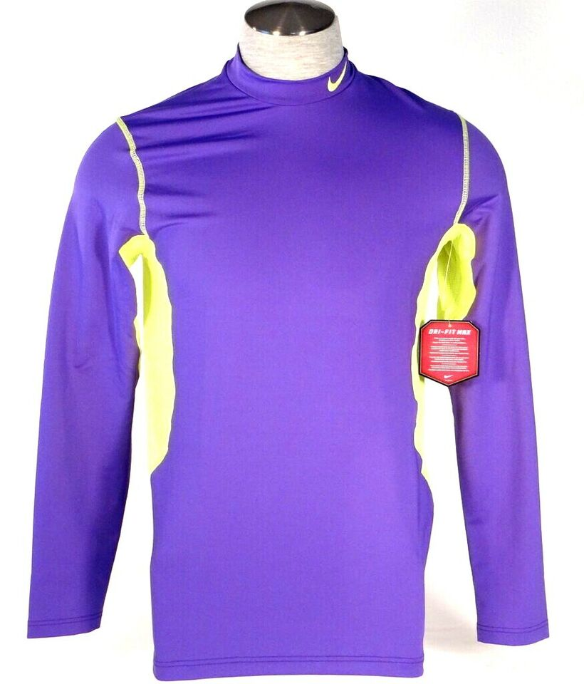 NWT Nike Men/'s Dri-Fit Max HyperWarm Fitted Mock Shirt Size L Purple 479925