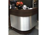 Wooden and Brushed Metal Reception Desk