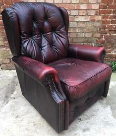Burgundy Leather Chesterfield Queen Anne Style Wing Backed Armchair