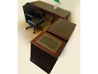 Green Leather Top Office Pedestal Desk (Key)+2 Filing Cabinets+Chesterfield Captains Chair