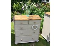 Shabby chic solid pine chest of drawers
