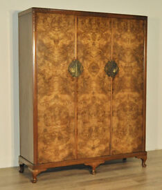 Attractive Large Vintage Art Deco Carved Burr Walnut Triple Fitted Wardrobe