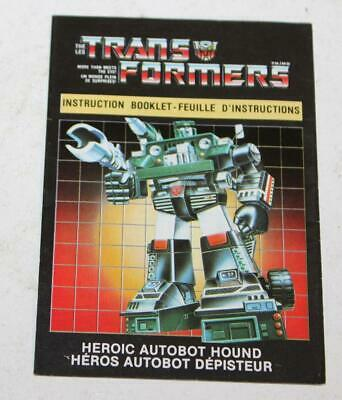 1984 Transformers G1 Autobot Hound / Depisteur Canadian Instruction Book