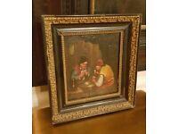 19th century oil paintings in original frames, pair