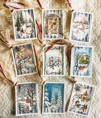 Set of 9 Hang Tags~Vintage Christmas Winter Scene~Gift Tags~Scrapbook~Card~#215R