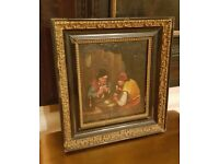 pair of antique oil paintings in original ebonised and gilt frames