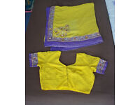Indian yellow and purple saree with silver embroidery, sequins & 38C blouse