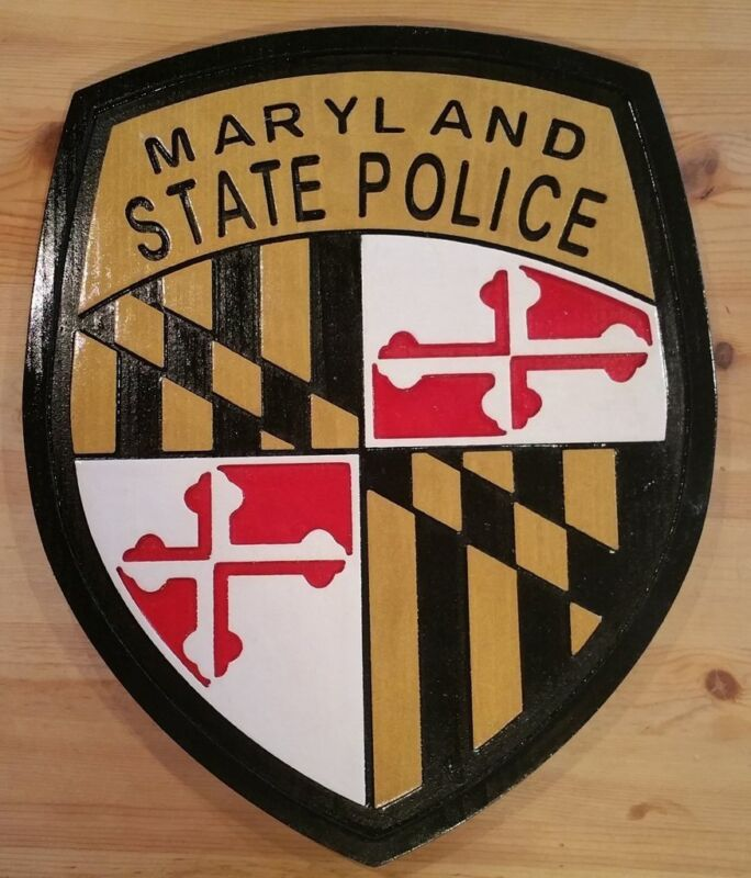 Police  Maryland State 3D routed wood patch plaque sign Custom Carved