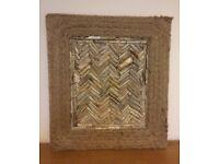Herringbone Driftwood Picture with rope edge 50 X 50 cm