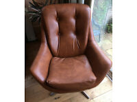 Vintage Retro Swivel Egg Chair Brown Tan Faux Leather