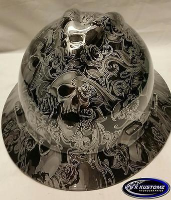 Silver Skulls And Roses Full Brim New Custom Msa V-gard Hard Hat Wfastrac