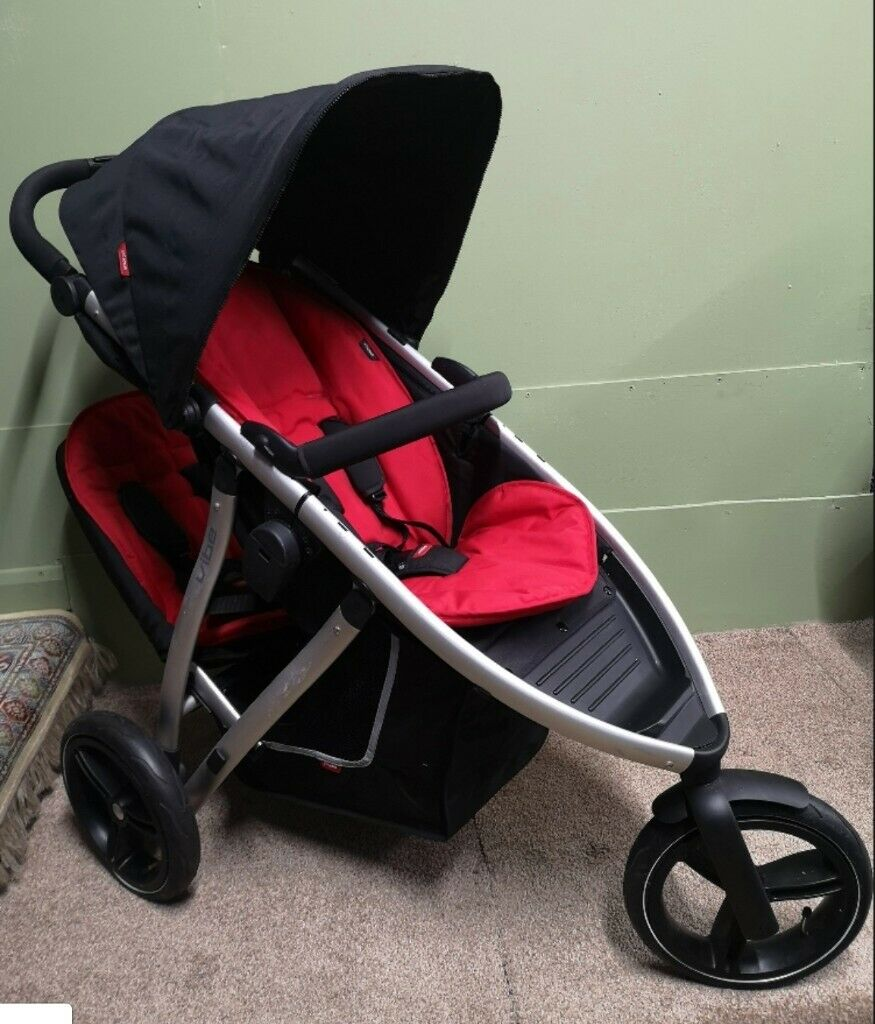 Phil/&Teds Vibe Double Kit Second Seat Black /& Red Double your Buggy SAVE