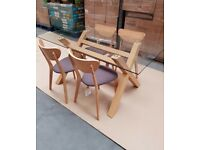 Contemporary glass dining table oak finish plus 4 chairs brand new in box