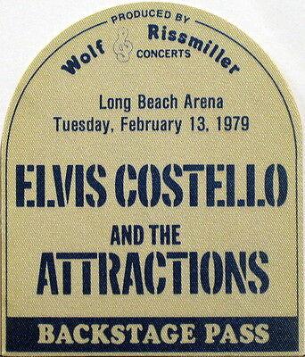 ELVIS COSTELLO Long Beach Arena 1979 Backstage Pass UNUSED