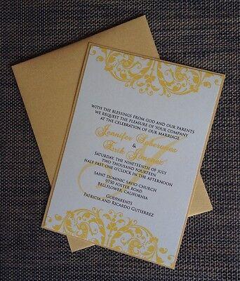 Cream and Gold Layered Wedding Invitation Set - Invitation, RSVP, Reception -