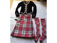 Highland Dance Outfit - St Kilda, hot pink kilt and socks with black jacket.