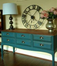 Shabby Chic Stag Minstrel 6 Drawer Console Table
