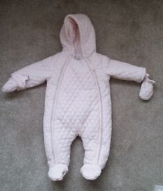 Mamas & Papas 3 - 6 months baby girl snowsuit in pale pink - excellent condition