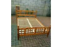 Solid pine king size bed with mattress
