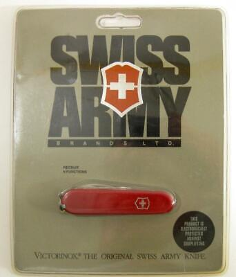 VTG Victorinox Swiss Army Pocket Knife Recruit 56241 NOS on Card 9 Function Red