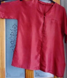 Red silk blouse - generous fitting