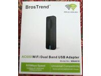 NEW. BROS TREND AC600 WIFI DUAL BAND USB ADAPTER. UNIVERSAL