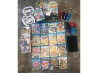 Wii u with 18 wii u games and 15 wii games