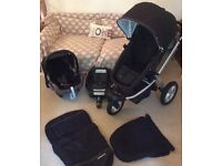 Mothercare my3 travel system in smart black with maxi cosi car seat and easi base Pram pushchair