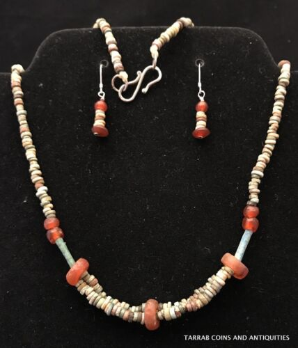 ANCIENT EGYPTIAN MUMMY BEAD AND CARNELIAN JEWELRY 3 PIECE SET !! NICE GIFT!!!