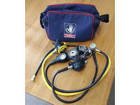 Complete Apeks regulator set with Suunto console and bag