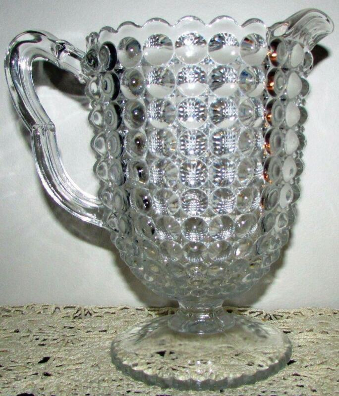 Stunning Antique Thousand Eye Optic EAPG Glass Water Pitcher Richards & Hartley