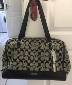 Black & grey coach shoulder bag and purse