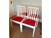 4 White Solid Wooden Chairs Excellent condition