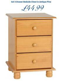 Solid pine bedside chest of drawers