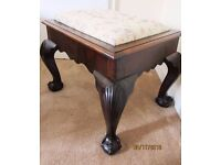 Antique Victorian Edwardian Solid Mahogany Stool Carved Claw feet Storage Beautiful statement piece