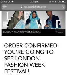 Two London fashion week festival tickets
