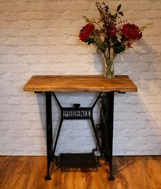Beautifully Restored Sewing Machine Base Table with re- claimed wooden top