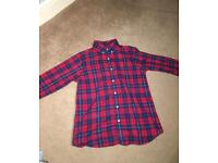 Lands end Red white and blue tartan button shirt 10-11 years